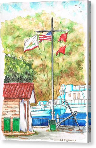 Flags In San Luis Port,  Avila Beach, California Canvas Print