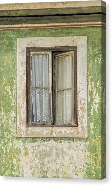 Flaking Wood Window Canvas Print