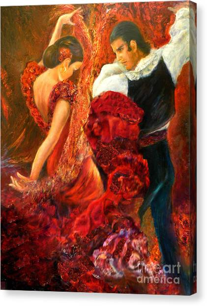 Flamenco Couple Aa Canvas Print