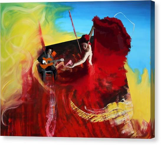 Flamenco Canvas Print - Flamenco Dancer 016 by Catf
