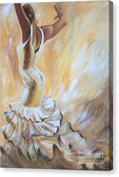 Flamenco Dancer In White Dress Canvas Print