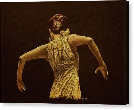 Flamenco Dancer In Yellow Dress Canvas Print by Martin Howard