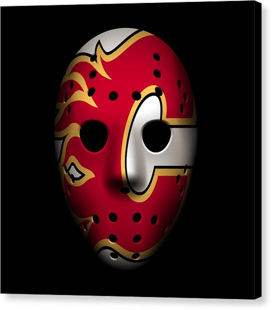 Calgary Flames Canvas Print - Flames Goalie Mask by Joe Hamilton