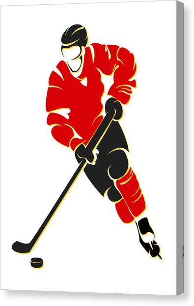 Calgary Flames Canvas Print - Flames Shadow Player by Joe Hamilton