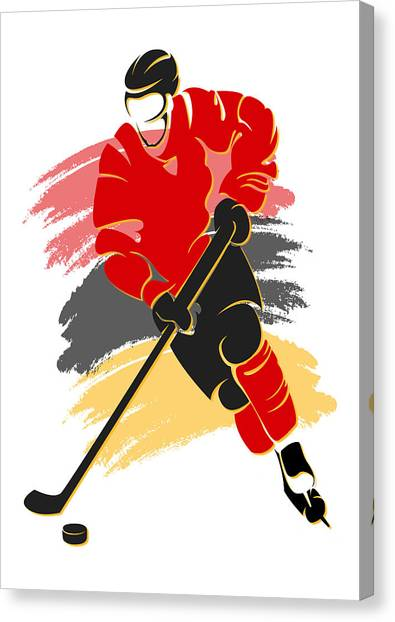 Anaheim Ducks Canvas Print - Flames Shadow Player2 by Joe Hamilton