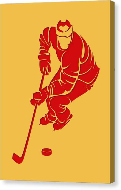 Calgary Flames Canvas Print - Flames Shadow Player3 by Joe Hamilton