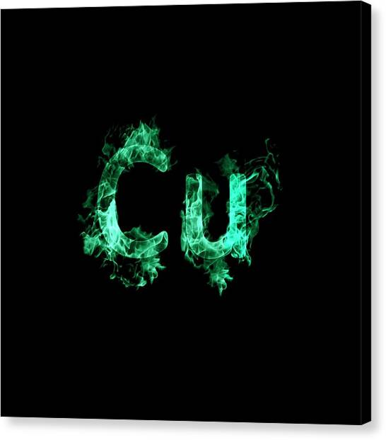 Flame Test Canvas Print - Flaming Copper Symbol Cu by Science Photo Library