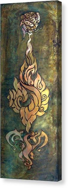 Flaming Dragon Rose Panel Canvas Print
