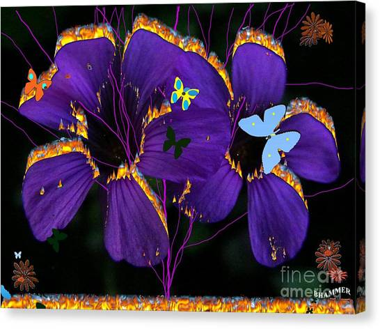 Flaming Flowers Canvas Print by Bobby Hammerstone