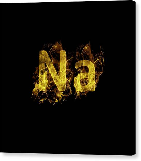 Flame Test Canvas Print - Flaming Sodium Symbol Na by Science Photo Library