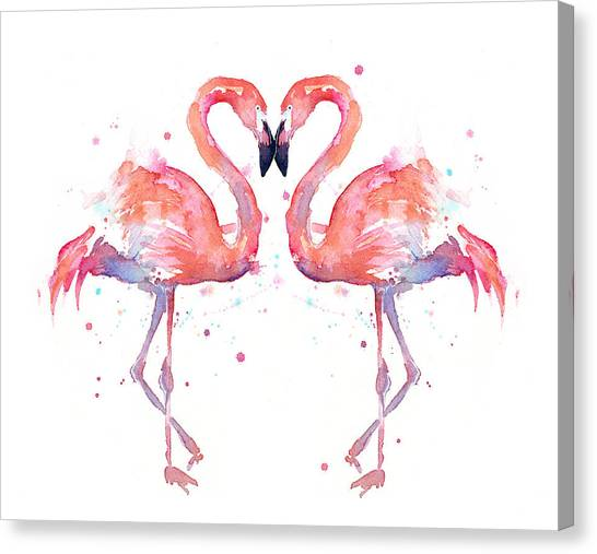 Two Canvas Print - Flamingo Love Watercolor by Olga Shvartsur