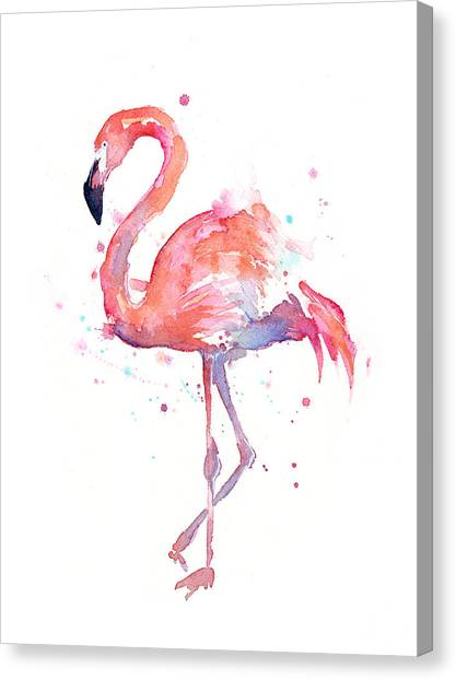 Purple Canvas Print - Flamingo Watercolor by Olga Shvartsur
