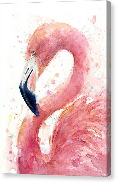 Pink Canvas Print - Flamingo Watercolor Painting by Olga Shvartsur