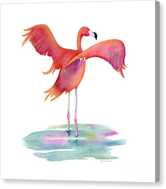 Flamingos Canvas Print - Flamingo Wings by Amy Kirkpatrick