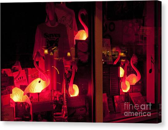 Flamingos On Market Street Canvas Print