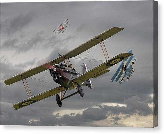 Biplane Canvas Print - Flander's Skies by Pat Speirs