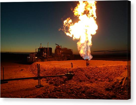 Flare And A Vacuum Truck Canvas Print