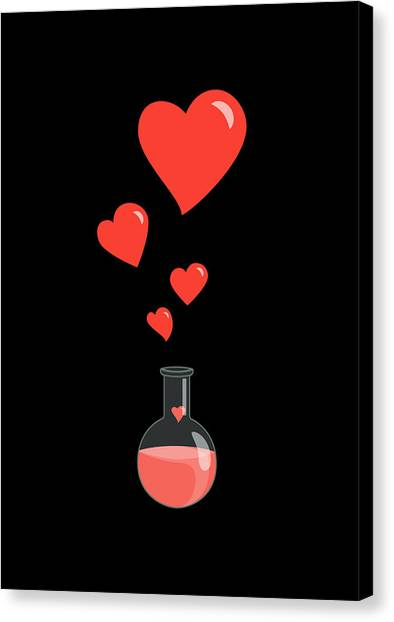 Love Canvas Print - Flask Of Hearts by Boriana Giormova