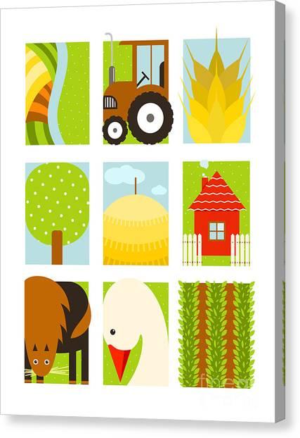 Flat Childish Rectangular Agriculture Canvas Print by Popmarleo