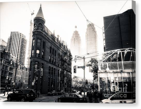 Toronto black and white canvas print flat iron toronto by matt trimble