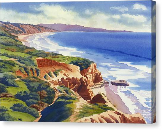 Flat Rock And Bluffs At Torrey Pines Canvas Print by Mary Helmreich