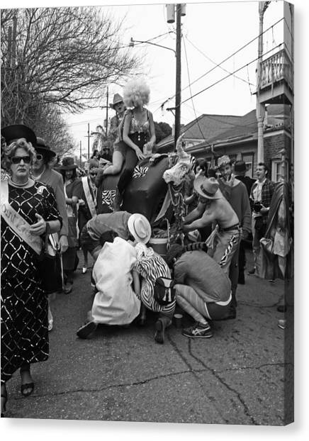 Flat Tire On The Parade Route In New Orleans Canvas Print