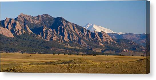 Flatirons And Snow Covered Longs Peak Panorama Canvas Print
