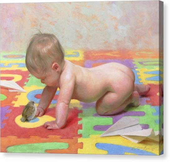 Cherub Canvas Print - Fledglings by Anna Rose Bain
