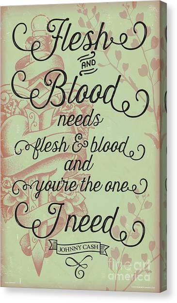 Johnny Cash Canvas Print - Flesh And Blood - Johnny Cash Lyric by Jim Zahniser
