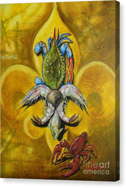 Crabs Canvas Print - Fleur De Lis by Theon Guillory