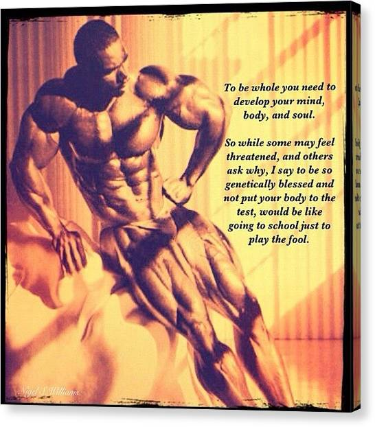 Gym Canvas Print - Flex Wheeler by Nigel Williams