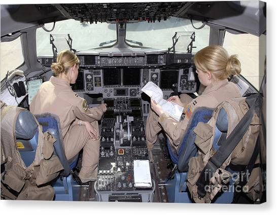 Cockpits Canvas Print - Flight Captains Review Flight by Stocktrek Images