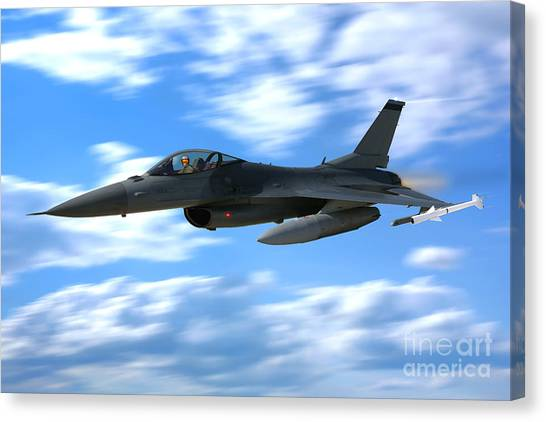 F16 Canvas Print - Flight Of The Falcon by Olivier Le Queinec