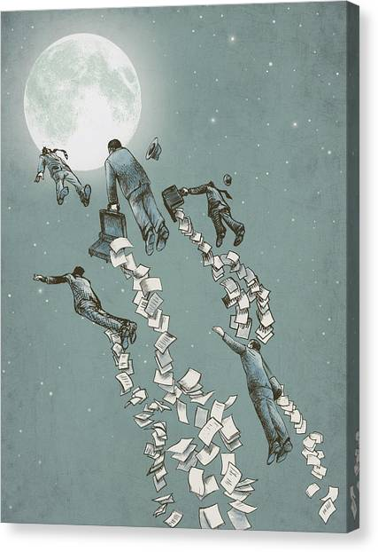 Moon Canvas Print - Flight Of The Salary Men by Eric Fan