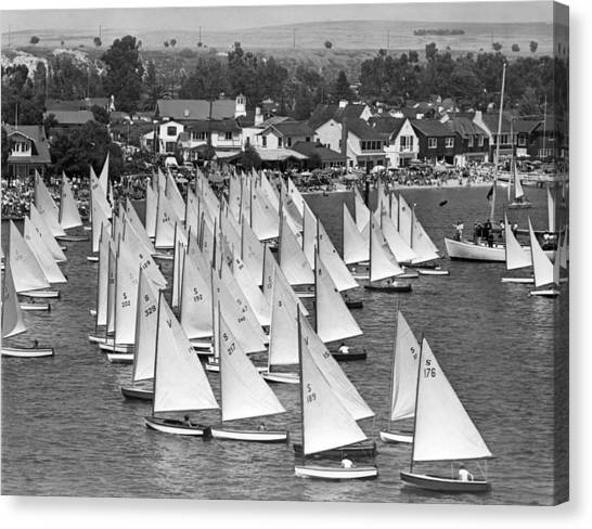 Watersports Canvas Print - Flight Of The Snowbirds Race by Underwood Archives