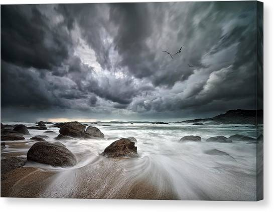 Storm Clouds Canvas Print - Flight Over Troubled Waters by Santiago Pascual Buye