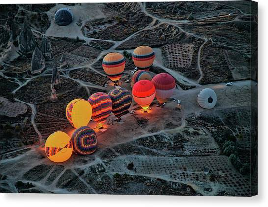 Hot Air Balloons Canvas Print - Flight Preparation by Ayse Yorgancilar