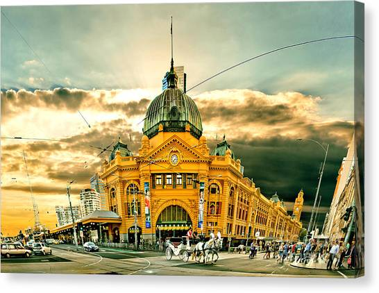 Traffic Canvas Print - Flinders St Station by Az Jackson