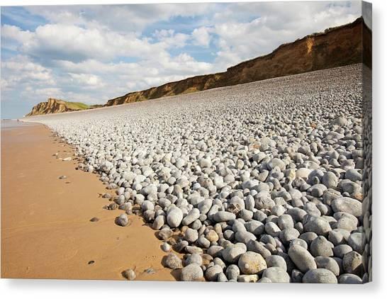 Beach Cliffs Canvas Print - Flint Pebbles On Sheringham Beach by Ashley Cooper