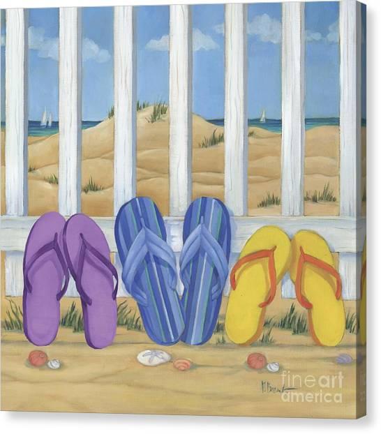 Shovels Canvas Print - Flip Flop Beach II by Paul Brent