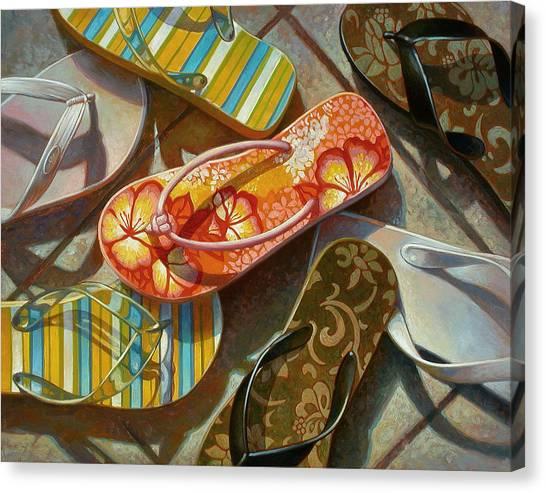 Summer Canvas Print - Flip Flops by Mia Tavonatti