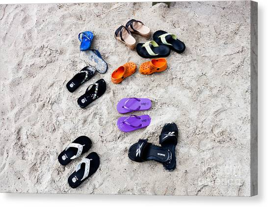 Flip Flops On The Beach Canvas Print