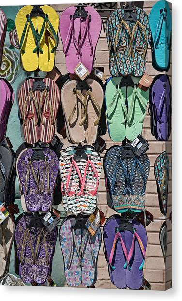 Venice Beach Canvas Print - Flip Flops by Peter Tellone