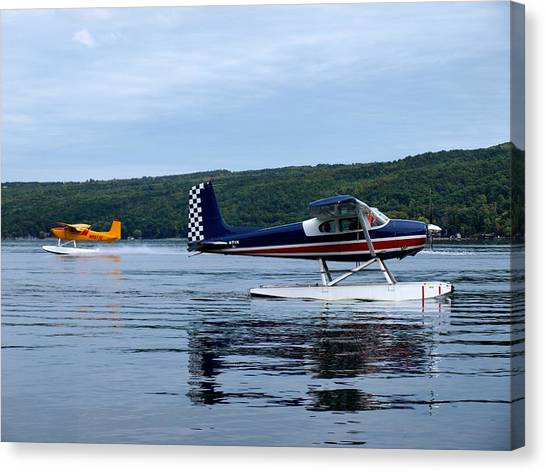 Cessnas Canvas Print - Float Planes On Keuka by Joshua House
