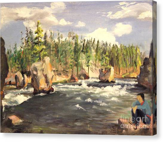 Floating Boulders On The Yellowstone River  1950s Canvas Print