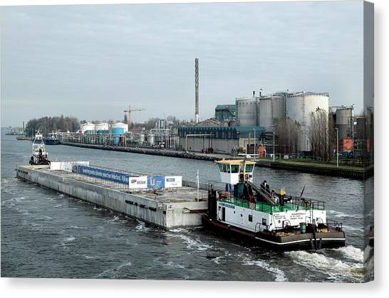 Pontoon Canvas Print - Floating Detention Centre Construction by Christophe Vander Eecken/reporters/science Photo Library