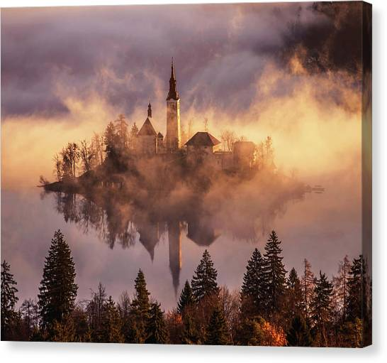 Mountain Sunrises Canvas Print - Floating Island by Ales Krivec