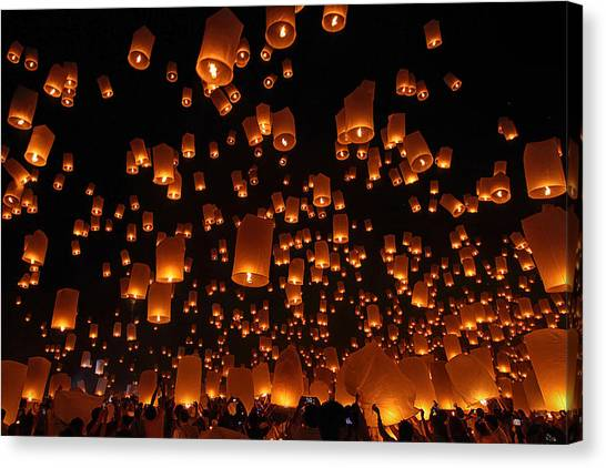 Flames Canvas Print - Floating Lanterns by Vichaya