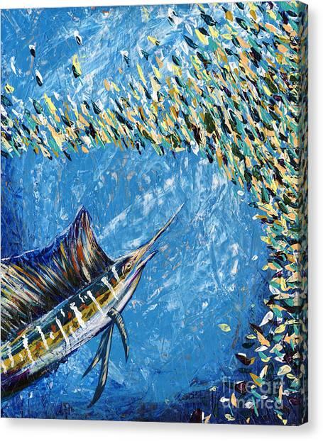 Midnite Canvas Print - Sailfish Lunch by Lovejoy
