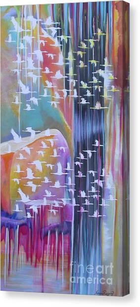 Flock Of Cranes Canvas Print by Nereida Rodriguez